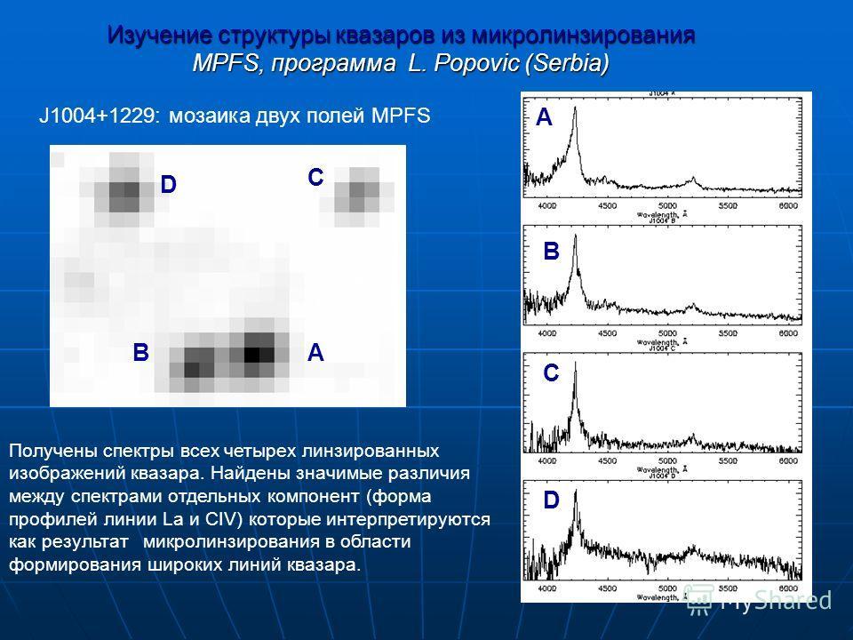 12 Изучение структуры квазаров из микролинзирования MPFS, программа L. Popovic (Serbia) Получены спектры всех четырех линзированных изображений квазара. Найдены значимые различия между спектрами отдельных компонент (форма профилей линии La и СIV) кот