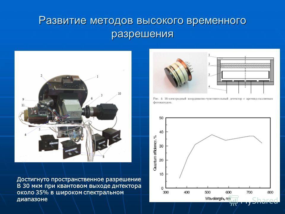 19 Развитие методов высокого временного разрешения Достигнуто пространственное разрешение В 30 мкм при квантовом выходе днтектора около 35% в широком спектральном диапазоне