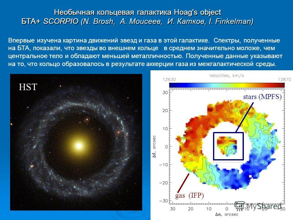 Впервые изучена картина движений звезд и газа в этой галактике. Спектры, полученные на БТА, показали, что звезды во внешнем кольце в среднем значительно моложе, чем центральное тело и обладают меньшей металличностью. Полученные данные указывают на то