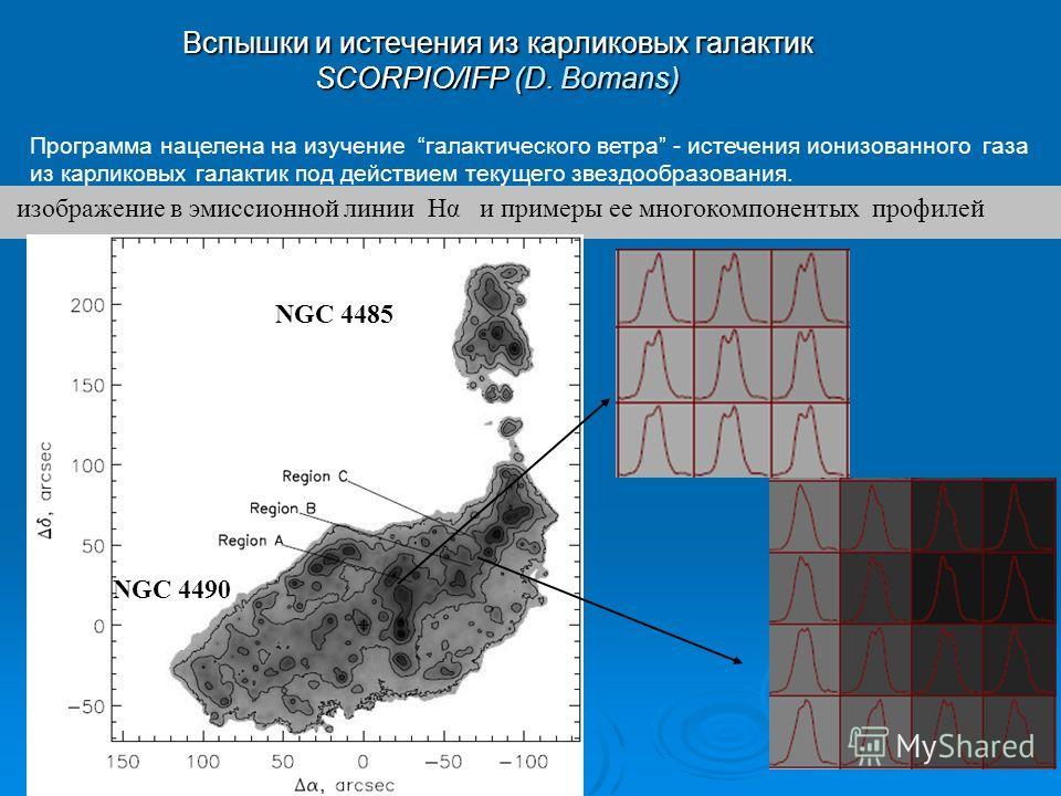 Программа нацелена на изучение галактического ветра - истечения ионизованного газа из карликовых галактик под действием текущего звездообразования. Вспышки и истечения из карликовых галактик SCORPIO/IFP (D. Bomans) изображение в эмиссионной линии Нα