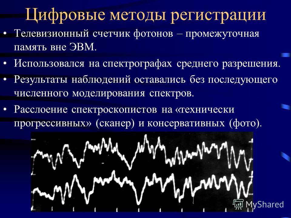 Цифровые методы регистрации Телевизионный счетчик фотонов – промежуточная память вне ЭВМ. Использовался на спектрографах среднего разрешения. Результаты наблюдений оставались без последующего численного моделирования спектров. Расслоение спектроскопи