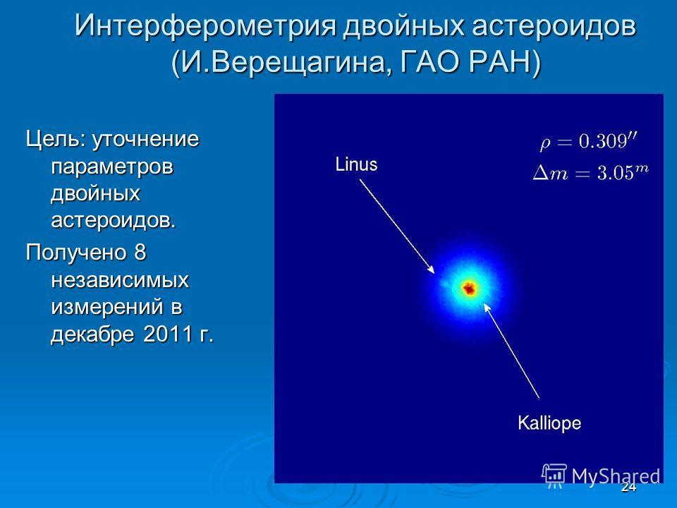 24 Интерферометрия двойных астероидов (И.Верещагина, ГАО РАН) Цель: уточнение параметров двойных астероидов. Получено 8 независимых измерений в декабре 2011 г.
