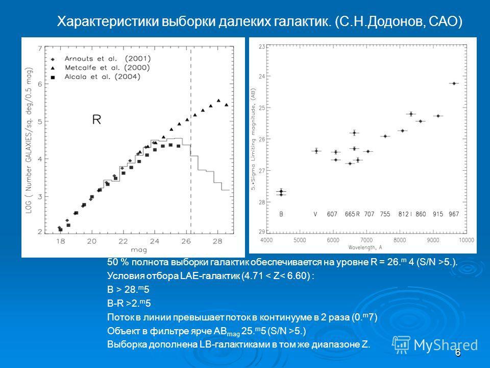 6 50 % полнота выборки галактик обеспечивается на уровне R = 26. m 4 (S/N >5.). Условия отбора LAE-галактик (4.71 < Z< 6.60) : B > 28. m 5 B-R >2. m 5 Поток в линии превышает поток в континууме в 2 раза (0. m 7) Объект в фильтре ярче AB mag 25. m 5 (
