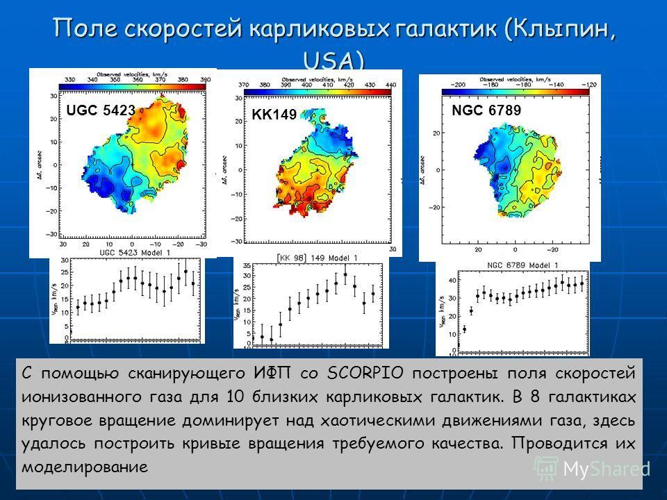 Поле скоростей карликовых галактик (Клыпин, USA) С помощью сканирующего ИФП со SCORPIO построены поля скоростей ионизованного газа для 10 близких карликовых галактик. В 8 галактиках круговое вращение доминирует над хаотическими движениями газа, здесь