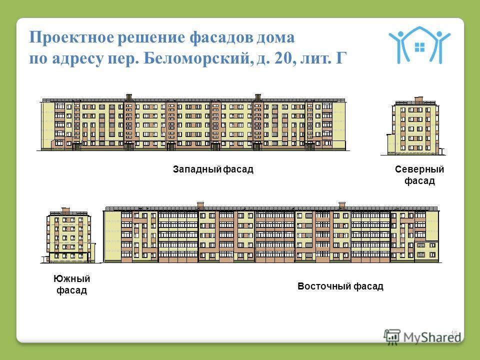 15 Проектное решение фасадов дома по адресу пер. Беломорский, д. 20, лит. Г Восточный фасад Южный фасад Западный фасадСеверный фасад