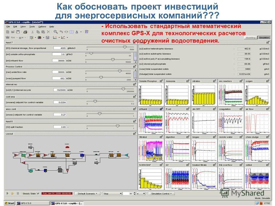 Как обосновать проект инвестиций для энергосервисных компаний??? - Использовать стандартный математический комплекс GPS-X для технологических расчетов очистных сооружений водоотведения.