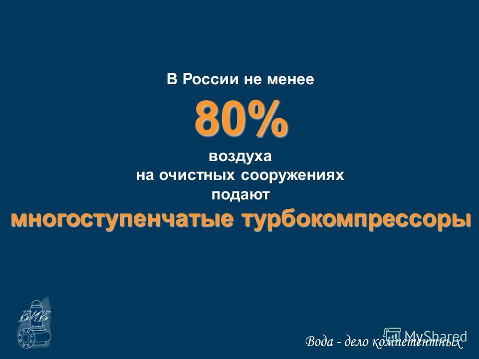 В России не менее80% воздуха на очистных сооружениях подают многоступенчатые турбокомпрессоры