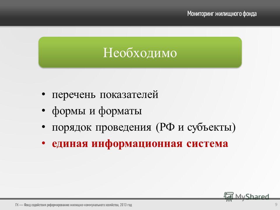 перечень показателей формы и форматы порядок проведения (РФ и субъекты) единая информационная система 9 Необходимо