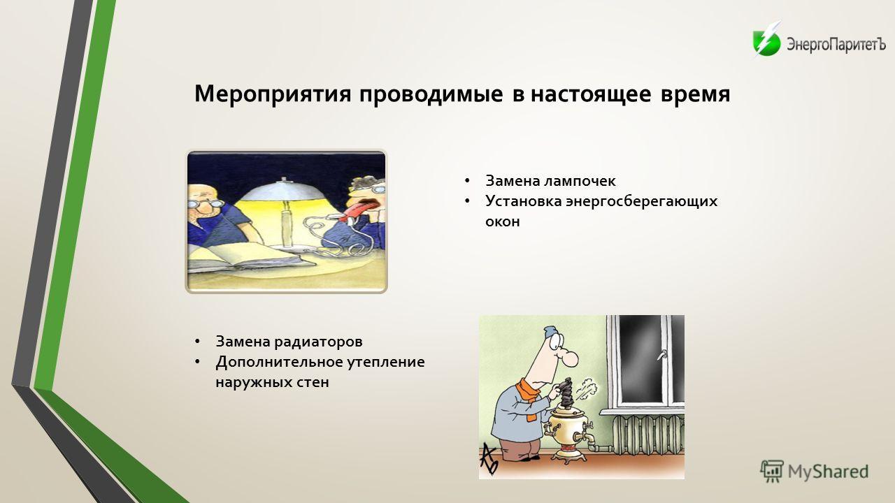 Мероприятия проводимые в настоящее время Замена лампочек Установка энергосберегающих окон Замена радиаторов Дополнительное утепление наружных стен
