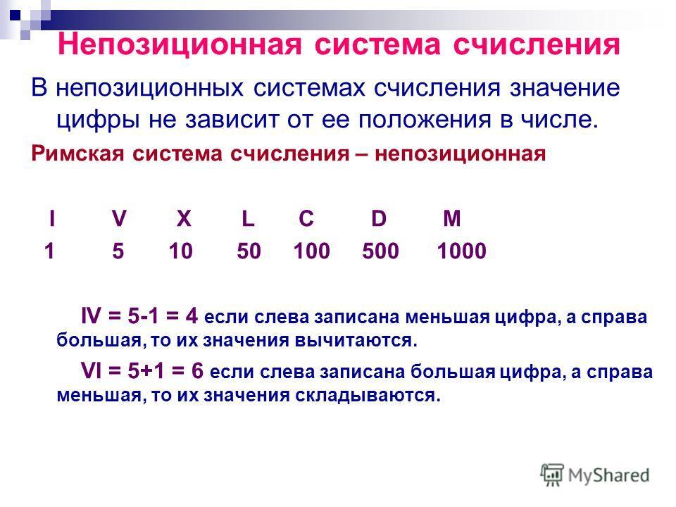 Непозиционная система счисления В непозиционных системах счисления значение цифры не зависит от ее положения в числе. Римская система счисления – непозиционная I V X L C D M 1 5 10 50 100 500 1000 IV = 5-1 = 4 если слева записана меньшая цифра, а спр