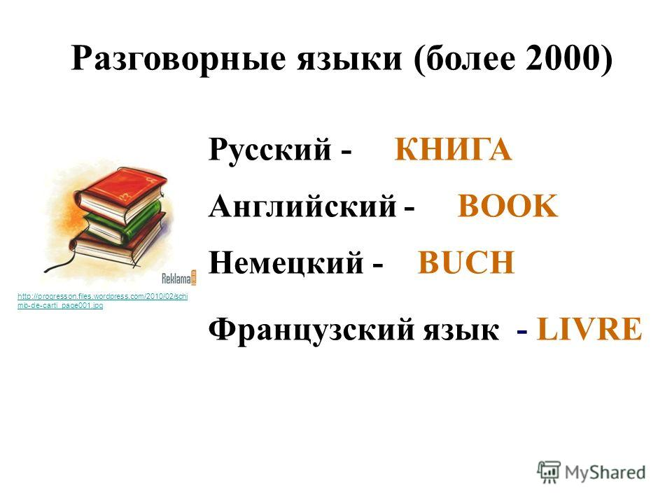 Разговорные языки (более 2000) Русский - КНИГА Английский - BOOK Немецкий - BUCH Французский язык - LIVRE http://progresson.files.wordpress.com/2010/02/schi mb-de-carti_page001.jpg
