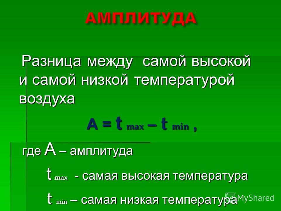 Разница между самой высокой и самой низкой температурой воздуха Разница между самой высокой и самой низкой температурой воздуха А = t max – t min, А = t max – t min, где А – амплитуда где А – амплитуда t max - самая высокая температура t max - самая