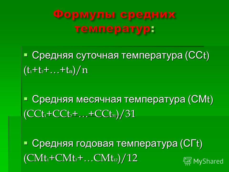 Средняя суточная температура (СС t) Средняя суточная температура (СС t) (t 1 +t 2 +…+t n )/n Средняя месячная температура (СМ t) Средняя месячная температура (СМ t) (CCt 1 +CCt 2 +…+CCt 31 )/31 Средняя годовая температура (СГ t) Средняя годовая темпе