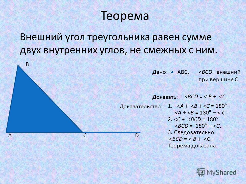 Теорема Внешний угол треугольника равен сумме двух внутренних углов, не смежных с ним. Дано:ABC,