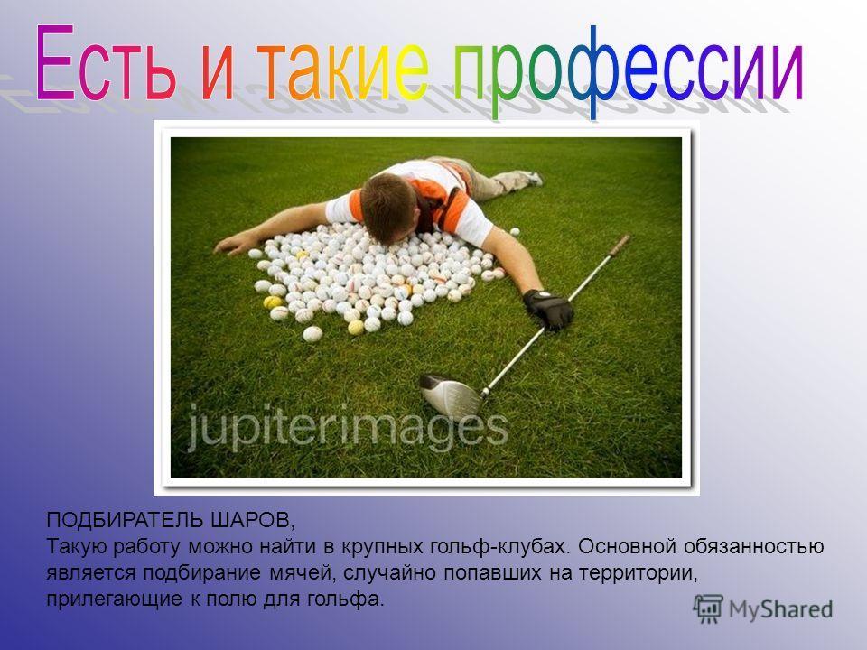ПОДБИРАТЕЛЬ ШАРОВ, Такую работу можно найти в крупных гольф-клубах. Основной обязанностью является подбирание мячей, случайно попавших на территории, прилегающие к полю для гольфа.
