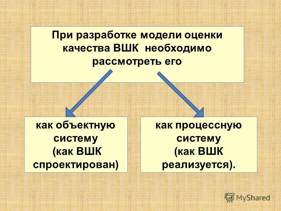 При разработке модели оценки качества ВШК необходимо рассмотреть его как объектную систему (как ВШК спроектирован) как процессную систему (как ВШК реализуется).