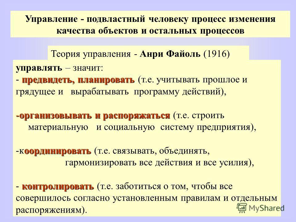 Управление - подвластный человеку процесс изменения качества объектов и остальных процессов Теория управления - Анри Файоль (1916) управлять – значит: предвидеть, планировать - предвидеть, планировать (т.е. учитывать прошлое и грядущее и вырабатывать