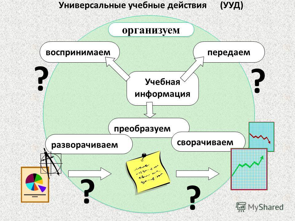 Учебная информация воспринимаемпередаем преобразуем сворачиваем разворачиваем Универсальные учебные действия (УУД) ? ? ? ? организуем