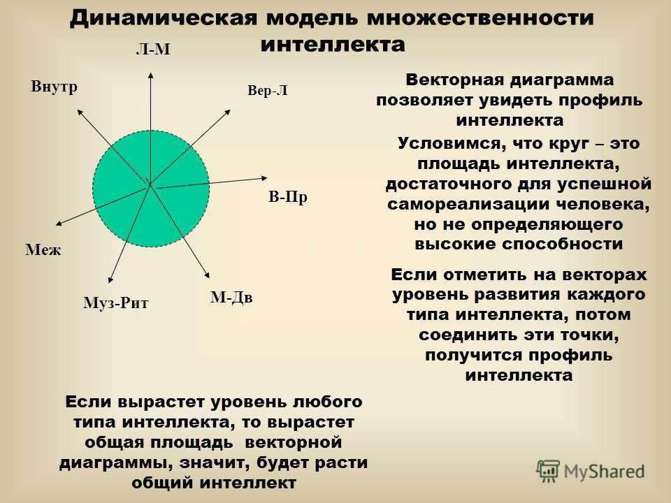 Динамическая модель множественности интеллекта Векторная диаграмма позволяет увидеть профиль интеллекта В-Пр Меж Л-М Вер-Л М-Дв Муз-Рит Внутр Условимся, что круг – это площадь интеллекта, достаточного для успешной самореализации человека, но не опред