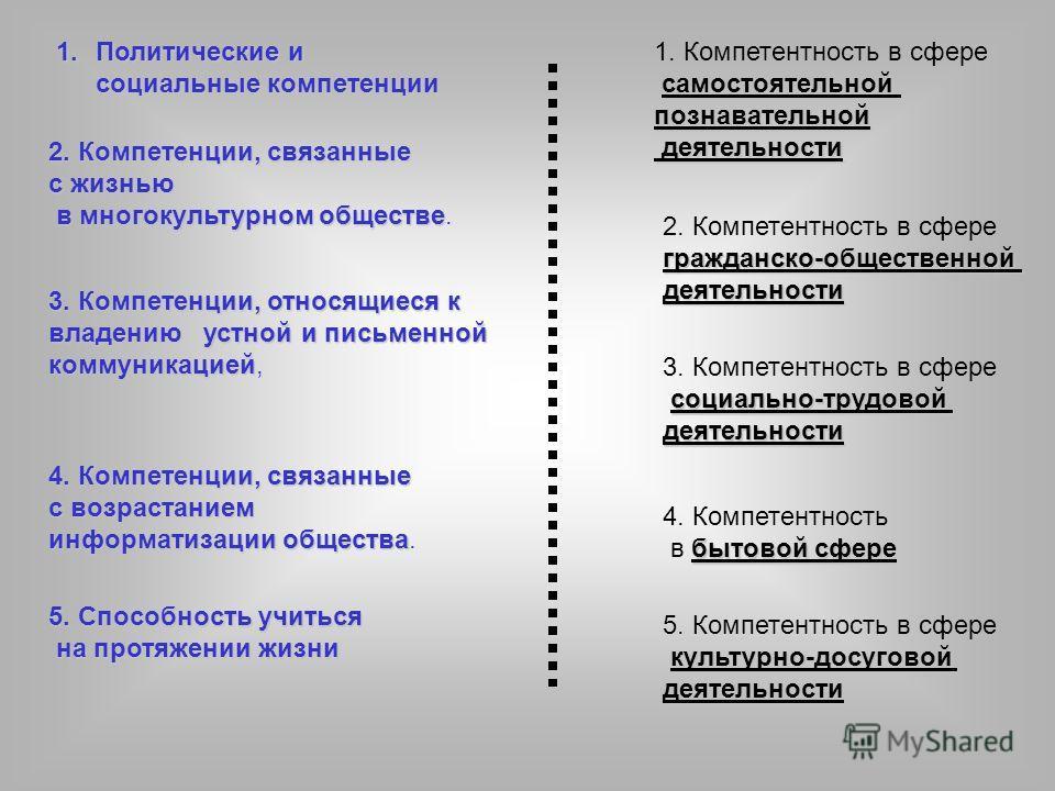 1.Политические и социальные компетенции 2. Компетенции, связанные с жизнью в многокультурном обществе в многокультурном обществе. 3.Компетенции, относящиеся к владению устной и письменной коммуникацией 3. Компетенции, относящиеся к владению устной и