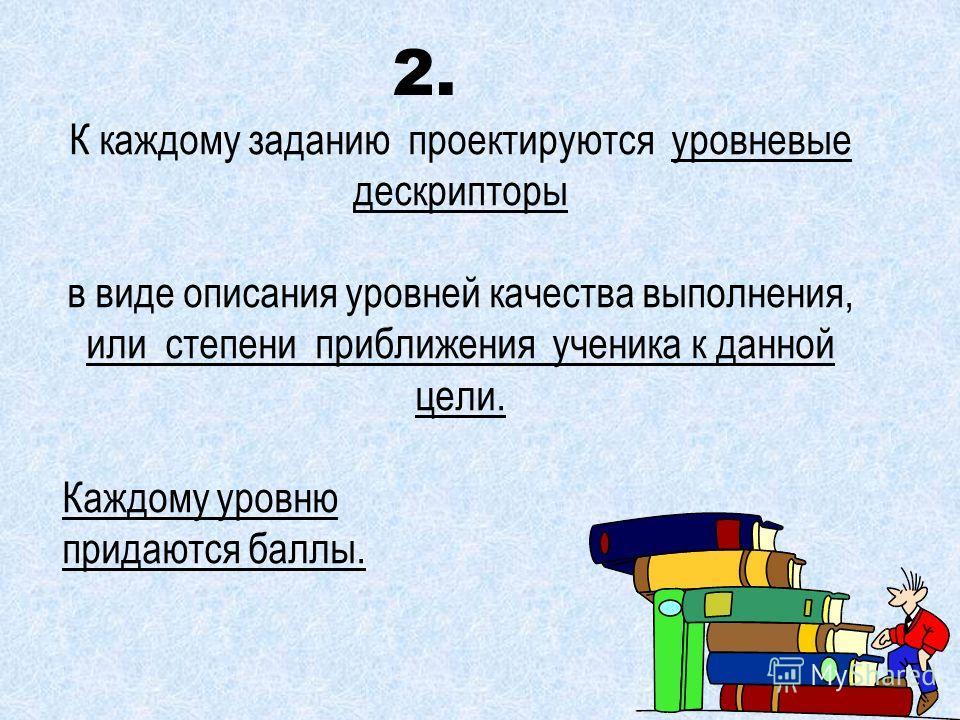 К каждому заданию проектируются уровневые дескрипторы в виде описания уровней качества выполнения, или степени приближения ученика к данной цели. Каждому уровню придаются баллы. 2.