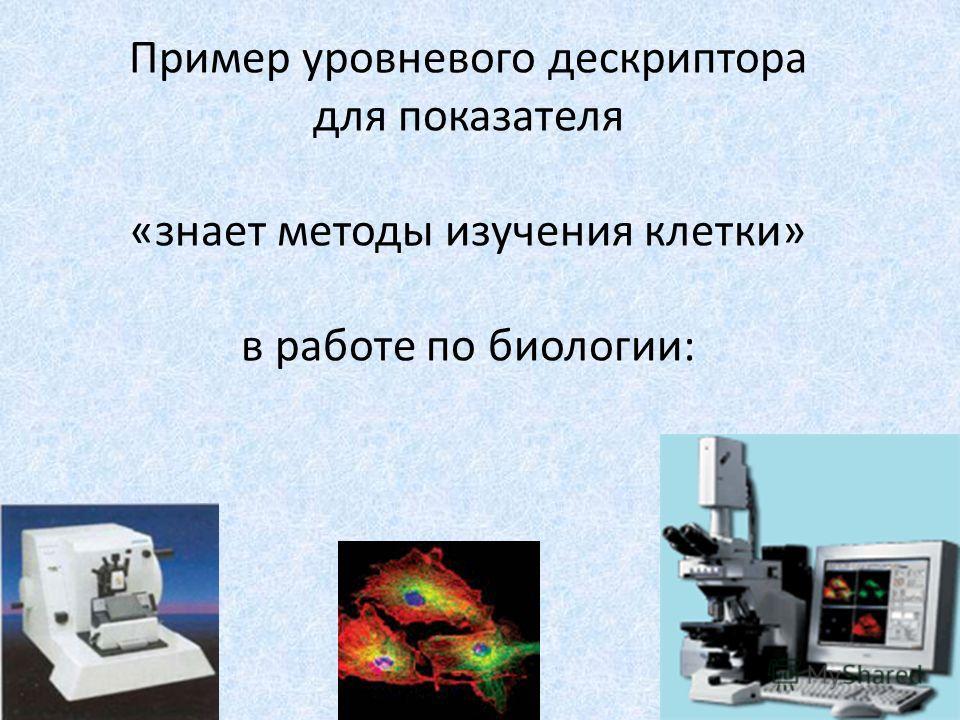 Пример уровневого дескриптора для показателя «знает методы изучения клетки» в работе по биологии: