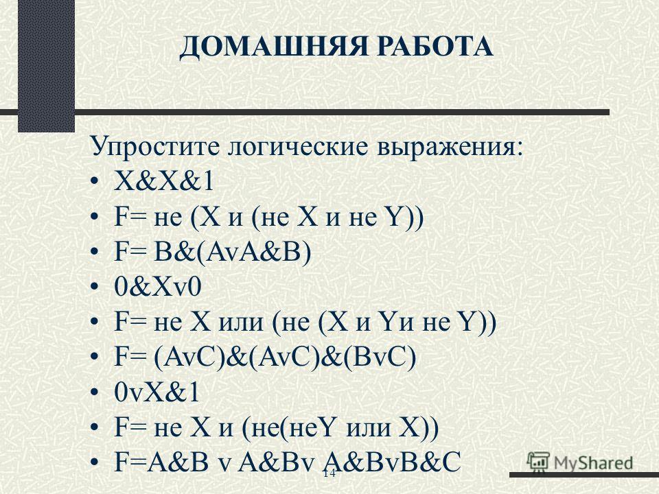 14 ДОМАШНЯЯ РАБОТА Упростите логические выражения: Х&X&1 F= не (Х и (не Х и не Y)) F= B&(AvA&B) 0&Xv0 F= не Х или (не (Х и Yи не Y)) F= (AvC)&(AvC)&(BvC) 0vX&1 F= не Х и (не(неY или Х)) F=A&B v A&Bv A&BvB&C