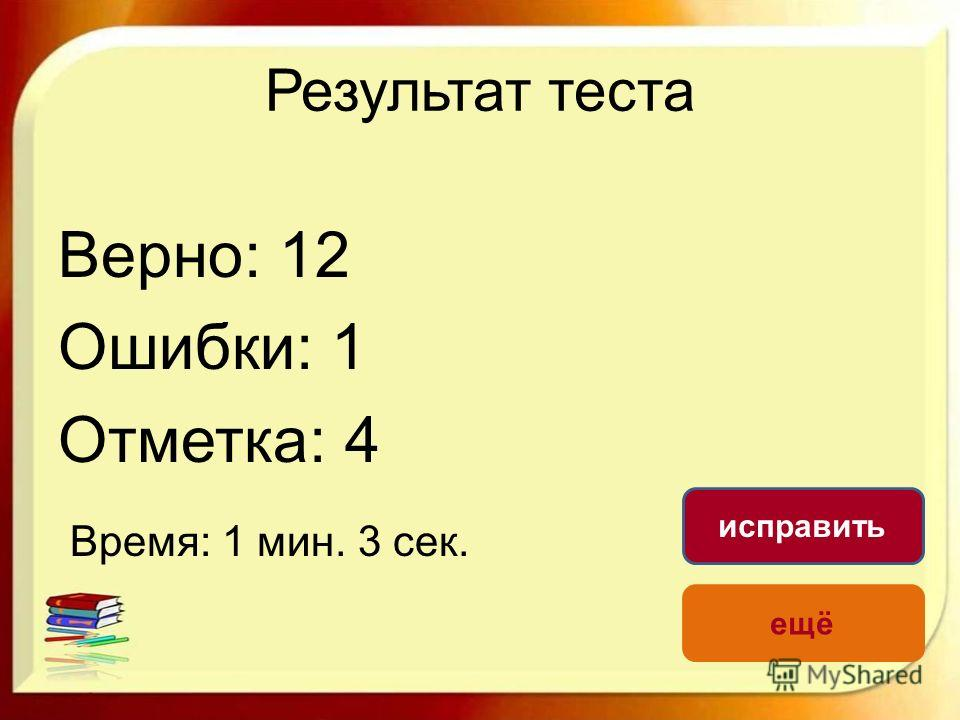 Результат теста Верно: 12 Ошибки: 1 Отметка: 4 Время: 1 мин. 3 сек. ещё исправить