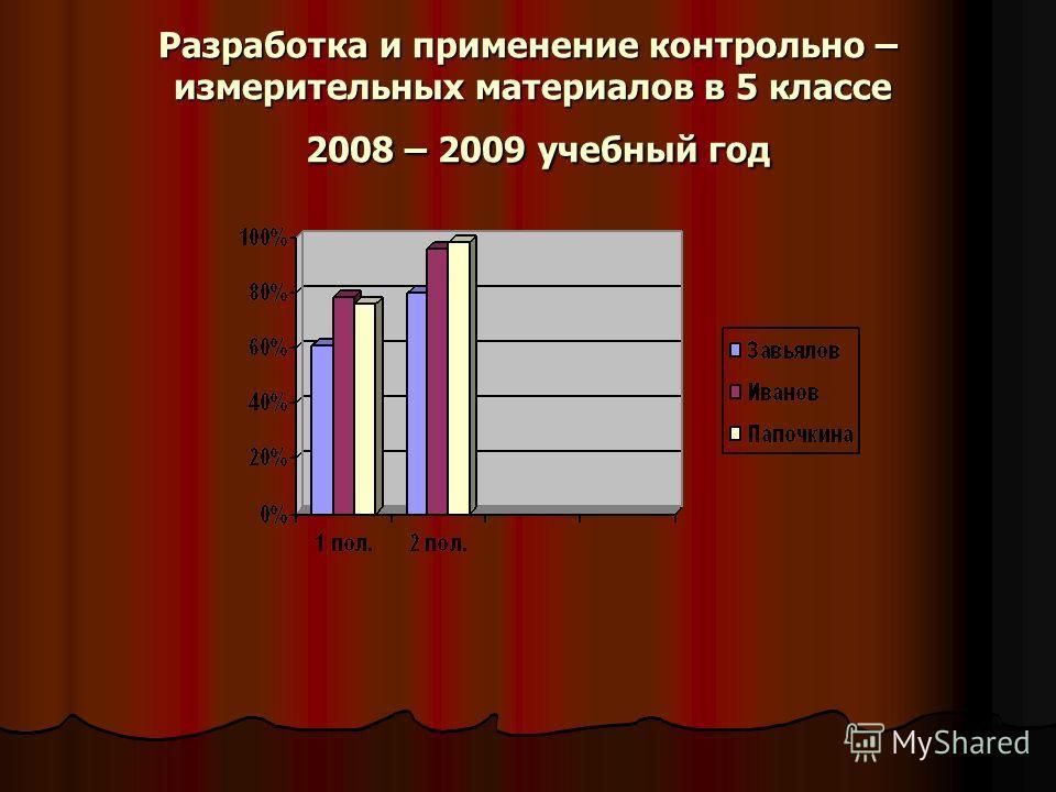Разработка и применение контрольно – измерительных материалов в 5 классе 2008 – 2009 учебный год