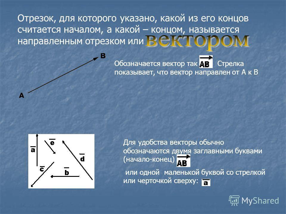 Отрезок, для которого указано, какой из его концов считается началом, а какой – концом, называется направленным отрезком или Обозначается вектор так. Стрелка показывает, что вектор направлен от А к B Для удобства векторы обычно обозначаются двумя заг