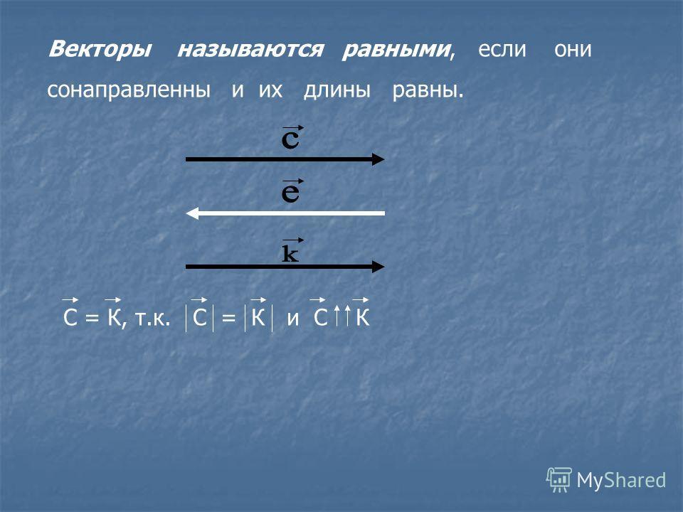 Векторы называются равными, если они сонаправленны и их длины равны. С = К, т.к. С = К и С К