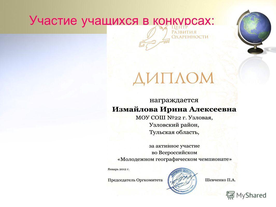 Участие учащихся в конкурсах: