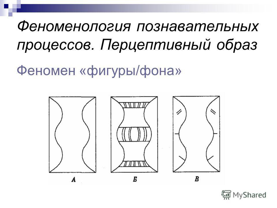 Феноменология познавательных процессов. Перцептивный образ Феномен «фигуры/фона»