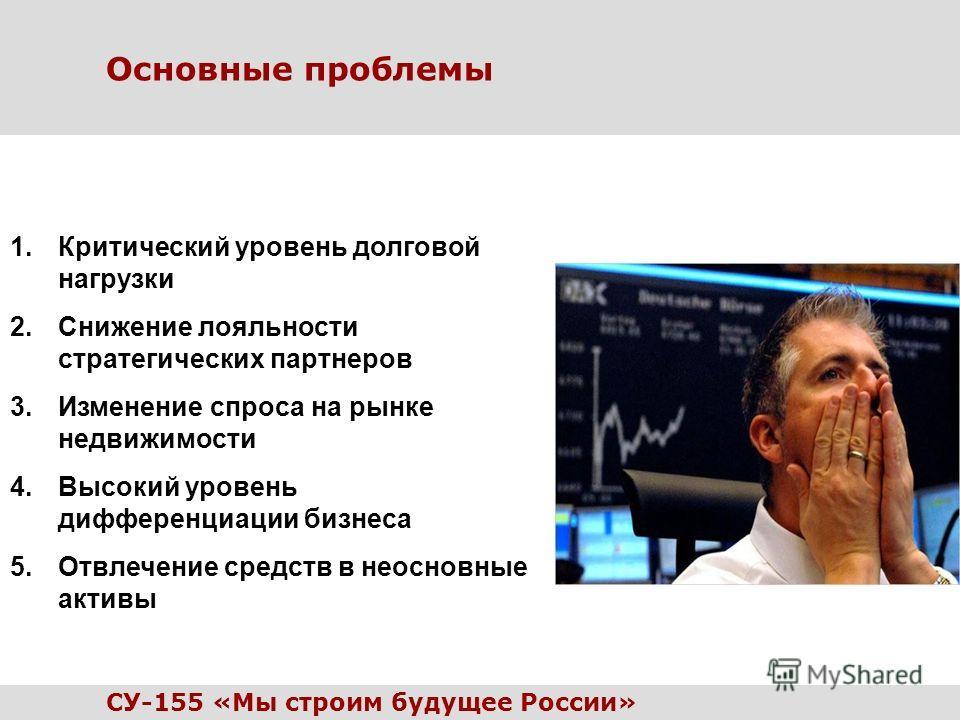 Основные проблемы 1.Критический уровень долговой нагрузки 2.Снижение лояльности стратегических партнеров 3.Изменение спроса на рынке недвижимости 4.Высокий уровень дифференциации бизнеса 5.Отвлечение средств в неосновные активы СУ-155 «Мы строим буду