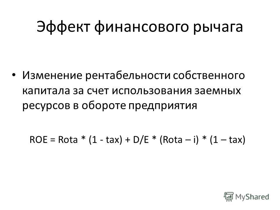 Эффект финансового рычага Изменение рентабельности собственного капитала за счет использования заемных ресурсов в обороте предприятия ROE = Rota * (1 - tax) + D/E * (Rota – i) * (1 – tax)