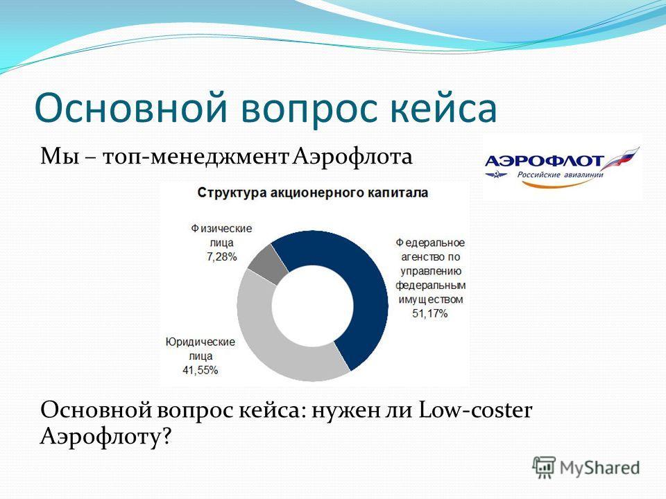 Основной вопрос кейса Мы – топ-менеджмент Аэрофлота Основной вопрос кейса: нужен ли Low-coster Аэрофлоту?