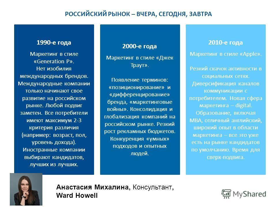 РОССИЙСКИЙ РЫНОК – ВЧЕРА, СЕГОДНЯ, ЗАВТРА 1990-е года Маркетинг в стиле «Generation P». Нет изобилия международных брендов. Международные компании только начинают свое развитие на российском рынке. Любой подвиг заметен. Все потребители имеют максимум