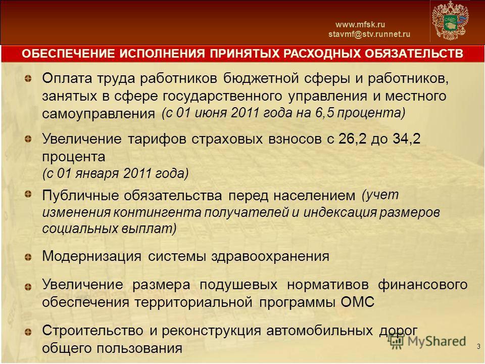 www.mfsk.ru stavmf@stv.runnet.ru ОБЕСПЕЧЕНИЕ ИСПОЛНЕНИЯ ПРИНЯТЫХ РАСХОДНЫХ ОБЯЗАТЕЛЬСТВ 3 Оплата труда работников бюджетной сферы и работников, занятых в сфере государственного управления и местного самоуправления (с 01 июня 2011 года на 6,5 процента