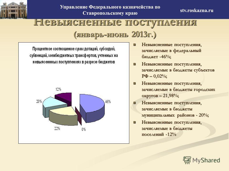 Невыясненные поступления (январь-июнь 2013г.) Невыясненные поступления, зачисляемые в федеральный бюджет -46%; Невыясненные поступления, зачисляемые в бюджеты субъектов РФ – 0,02%; Невыясненные поступления, зачисляемые в бюджеты городских округов – 2
