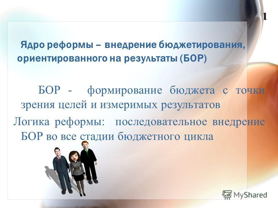 Ядро реформы – внедрение бюджетирования, ориентированного на результаты (БОР) БОР - формирование бюджета с точки зрения целей и измеримых результатов Логика реформы: последовательное внедрение БОР во все стадии бюджетного цикла 1