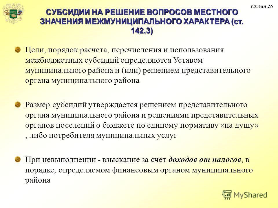 СУБСИДИИ НА РЕШЕНИЕ ВОПРОСОВ МЕСТНОГО ЗНАЧЕНИЯ МЕЖМУНИЦИПАЛЬНОГО ХАРАКТЕРА (ст. 142.3) Цели, порядок расчета, перечисления и использования межбюджетных субсидий определяются Уставом муниципального района и (или) решением представительного органа муни