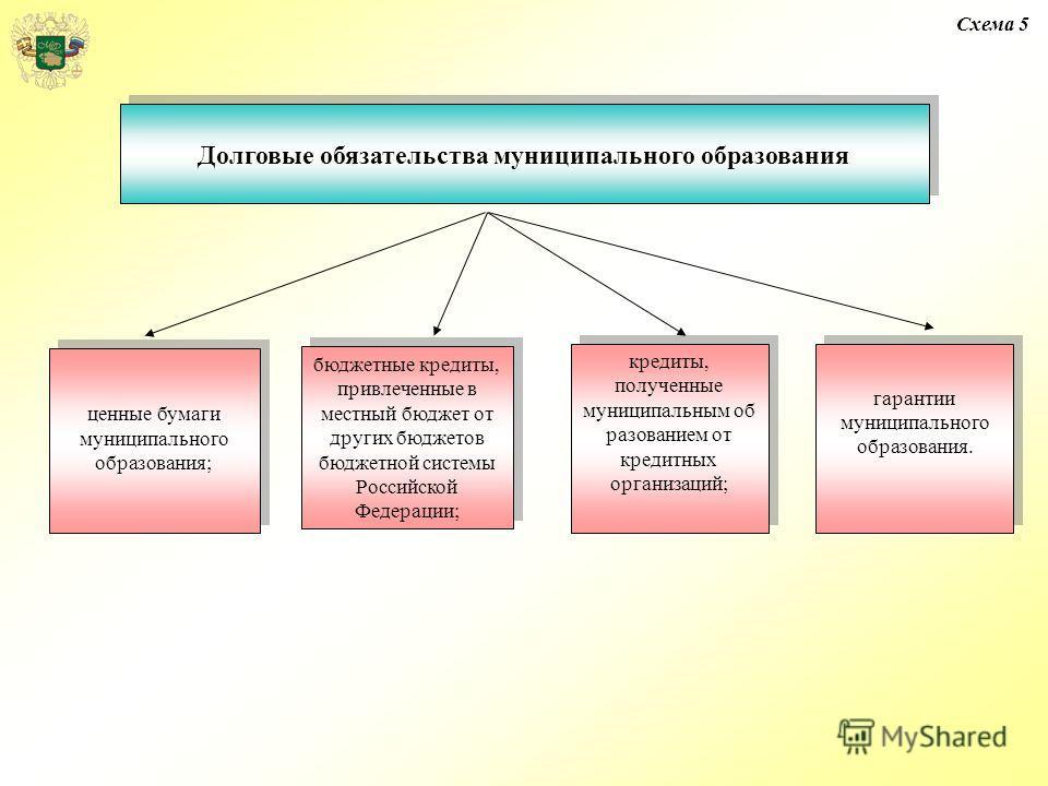 Долговые обязательства муниципального образования Схема 5 ценные бумаги муниципального образования; бюджетные кредиты, привлеченные в местный бюджет от других бюджетов бюджетной системы Российской Федерации; кредиты, полученные муниципальным об разов