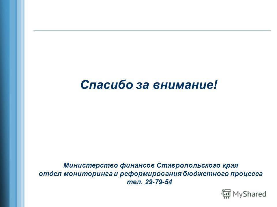 Спасибо за внимание! Министерство финансов Ставропольского края отдел мониторинга и реформирования бюджетного процесса тел. 29-79-54