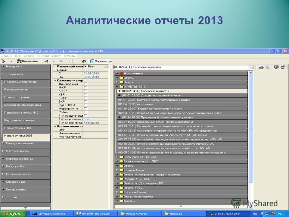 Аналитические отчеты 2013