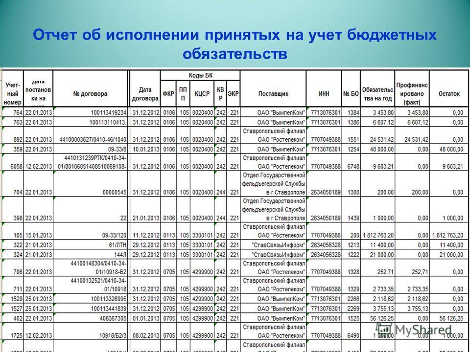 Отчет об исполнении принятых на учет бюджетных обязательств
