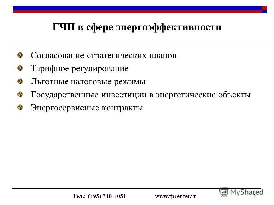 Согласование стратегических планов Тарифное регулирование Льготные налоговые режимы Государственные инвестиции в энергетические объекты Энергосервисные контракты ГЧП в сфере энергоэффективности Тел.: (495) 740-4051www.fpcenter.ru 15