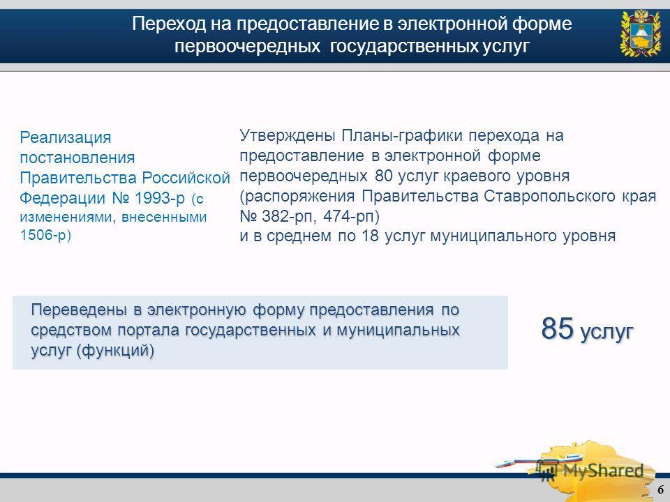6 Переход на предоставление в электронной форме первоочередных государственных услуг Реализация постановления Правительства Российской Федерации 1993-р (с изменениями, внесенными 1506-р) Утверждены Планы-графики перехода на предоставление в электронн