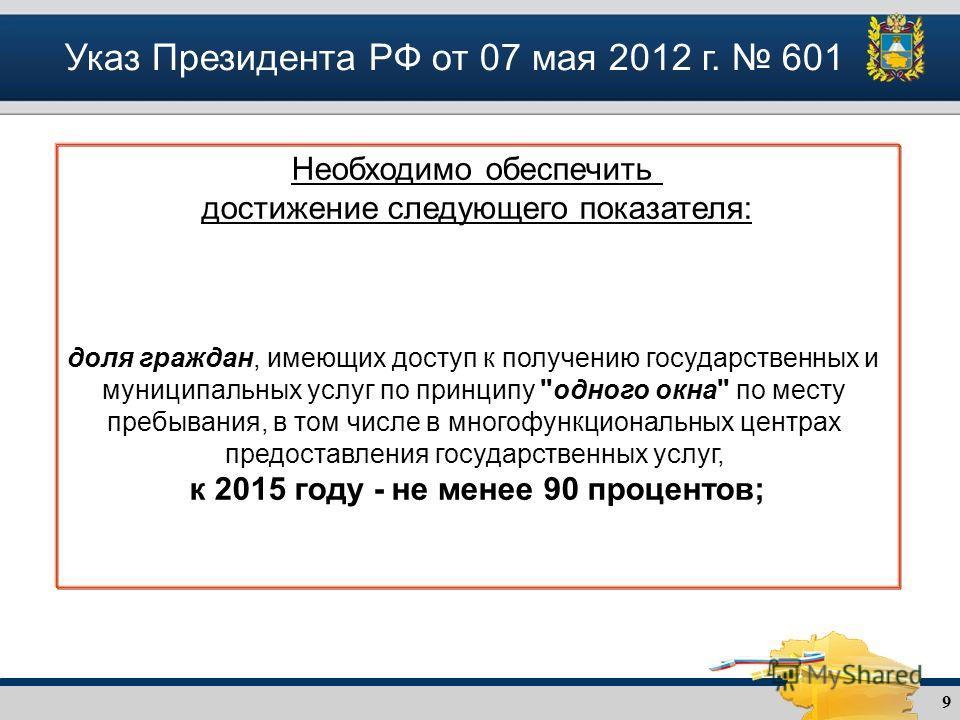 9 Указ Президента РФ от 07 мая 2012 г. 601 Необходимо обеспечить достижение следующего показателя: доля граждан, имеющих доступ к получению государственных и муниципальных услуг по принципу
