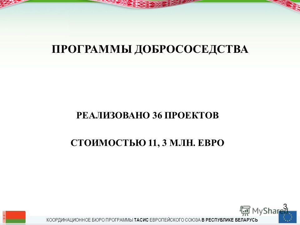 КООРДИНАЦИОННОЕ БЮРО ПРОГРАММЫ ТАСИС ЕВРОПЕЙСКОГО СОЮЗА В РЕСПУБЛИКЕ БЕЛАРУСЬ ОТ ПРОГРАММЫ ТАСИС К ИНСТРУМЕНТАМ ВНЕШНЕЙ ПОМОЩИ ЕС В рамках Программы ТАСИС реализовано в Беларуси с 1991 г. 510 проектов с общим бюджетом 210 млн. ЕВРО в период до конца
