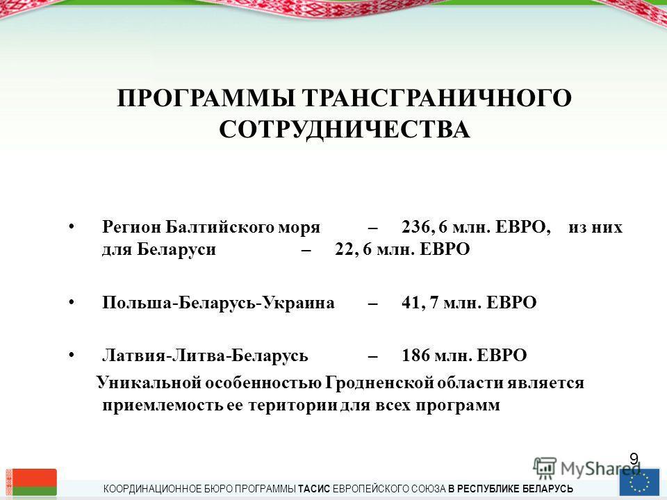 КООРДИНАЦИОННОЕ БЮРО ПРОГРАММЫ ТАСИС ЕВРОПЕЙСКОГО СОЮЗА В РЕСПУБЛИКЕ БЕЛАРУСЬ СЕКТОРНЫЙ ПОДХОД 2007 г. – ЭНЕРГЕТИКА 2008 г. – ЗАЩИТА ОКРУЖАЮЩЕЙ СРЕДЫ 2009 г. – СТАНДАРТЫ 8